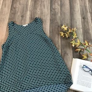 Pleione • Navy/Teal Houndstooth Sleeveless Top